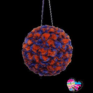 Piñata de flores naranja y morado