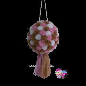 Piñata de flores con pompón